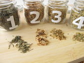Medicinal herbs samples with thyme, gentian root, elder flowers, oxlip flowers — Stock Photo