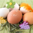 Natural colored eggs in easter nest — Stock Photo