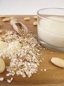 Muesli with almond milk — Stock Photo