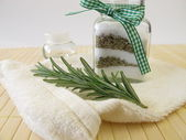 Bath salts with rosemary — Stock Photo