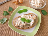 Bread spread with tuna and cream cheese — Stock Photo