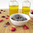 Massage oil with lavender and rose — Stock Photo