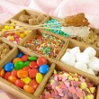 Stock Photo: Wooden box with sweetmeats