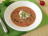 Tomato cream soup with fish — Stock Photo