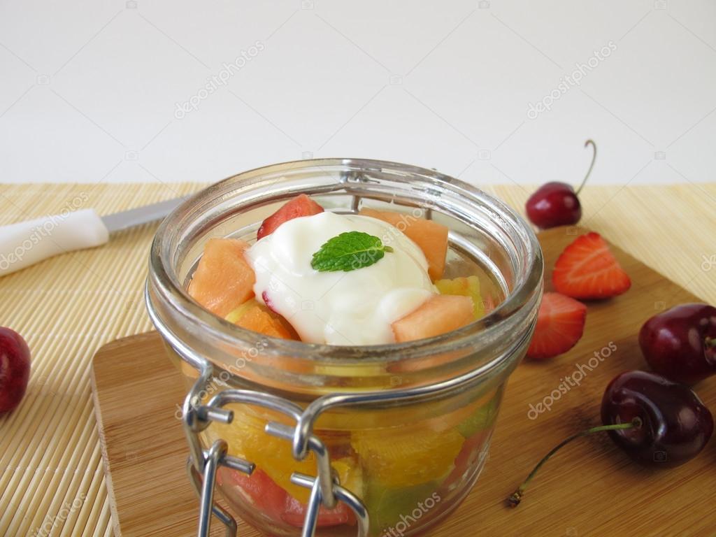 Joghurt Mit Obst im Glas Frisches Obst Mit Joghurt im