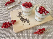 Dessert with chia pudding and red currants — Foto de Stock