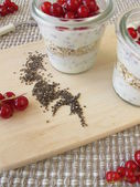Dessert with chia pudding and red currants — Stock Photo