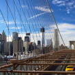 NYC Brooklyn Bridge panorama — Stock Photo