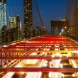 Brooklyn Bridge night traffic — Stock Photo