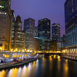 Chicago River Walk at night — Stock Photo