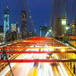 Brooklyn Bridge panorama with traffic - Stock Photo