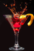 Splashing Cosmopolitan Cocktail — Stock Photo
