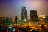 Chicago at night and mist — Foto Stock