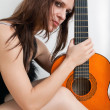 The young woman and guitar — Photo