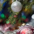 Branch of a fir-tree and New Year&amp;#039;s balls - Stock Photo