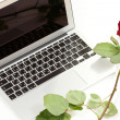 Royalty-Free Stock Photo: Silver laptop and red rose