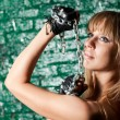 Woman with iron chain — Stock Photo