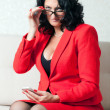 Business woman and phone — Foto Stock