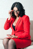 Business woman and phone — Stock Photo