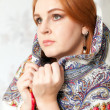 Woman and shawl — Stock fotografie