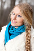 Woman with a long braid — Stockfoto