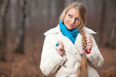 Woman with a long braid — Stock Photo