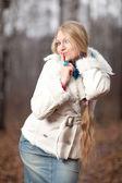 Woman with a long braid — Foto de Stock