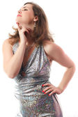 Woman in a silver dress — Stock Photo