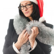 Business womin Christmas cap — Stock Photo #40306383