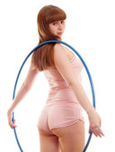 Woman holding a hula hoop — Stock Photo
