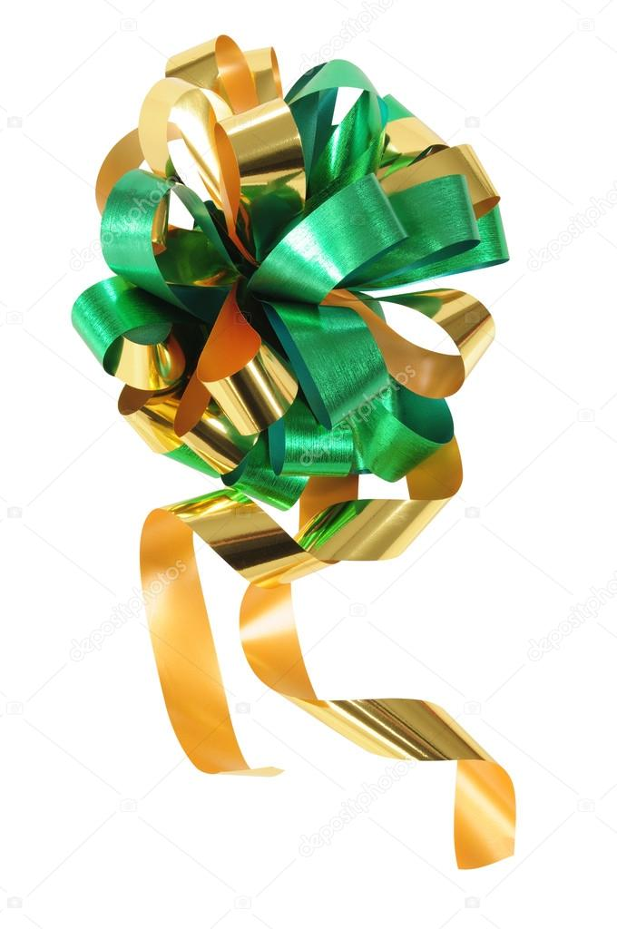 Christmas ribbon isolated against white background.  Stock Photo #15463859