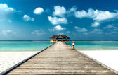 Jetty to Beach Cabana — Stock Photo
