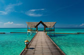 Jetty over the turquoise indian ocean on the maldives — Stock Photo