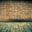 Stock Photo: Old grunge interior with brick wall