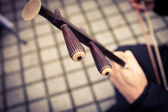 Musician plays the tradtional Chinese fiddle, the Erhu — Stock Photo
