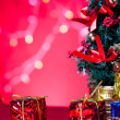 Christmas tree and gift — Stock Photo