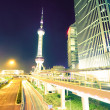 The light trails on the modern building background — ストック写真