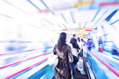 Moving escalator with — Stock Photo