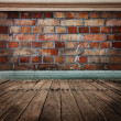 Stok fotoğraf: Brick wall with wooden floor