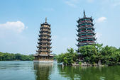 Banyan Lake Pagodas, Guilin, China ,one represents the sun, the other the moon — Stock Photo