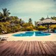Stock Photo: Tropical seaside hotel