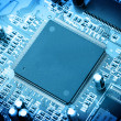 Stock Photo: Electronic circuit close-up. Macro background