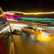 Night traffic,shoot from window of rush car,motion blur stee — Stock Photo #30340825