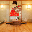 Japanese style room interior — Stockfoto