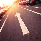 Asphalt road arrows — Stock Photo