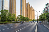 Empty street in modern city — Stock Photo