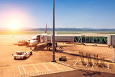 Airplane stop in the airport — Stock Photo