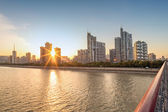 Cityscape with sunset — Stock Photo