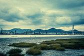 Harbor for excavating iron sand — Stock Photo