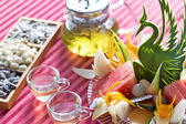 Green tea ,nuts and fresh fruit — Stock Photo